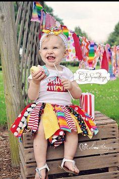 Fabric Tutu, Under The BIG TOP, circus birthday, Shabby Chic Fabric Tutu, Baby Tutu, Photo Prop, Childrens Toddler Clown circus tutu by ChicSomethings on Etsy https://www.etsy.com/listing/152486623/fabric-tutu-under-the-big-top-circus