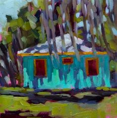 """SSI Cottage 6x6 oil on board. My last painting from St Simon's Island. A little stucco house with great shadows and Spanish moss everywhere."" - Mary Sheehan Winn"