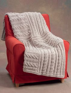 Easy Aran Squares knitted blanket
