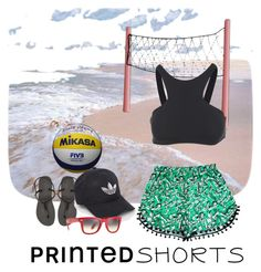 """Wanna play? #printedshorts"" by blondeandcrazy ❤ liked on Polyvore featuring Havaianas, Seafolly, Mikasa, adidas, Ray-Ban and printedshorts"