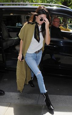 a neck scarf and black booties can make any outfit like Kendall Jenner