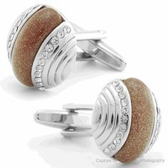Brown Diamond Rounds Cufflinks, Black Friday Sale / Cufflinksman