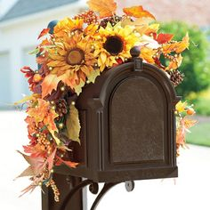 Attach this Pre-Lit Sunflower Mailbox Swag to your mailbox or light post and greet autumn and your mail carrier with style