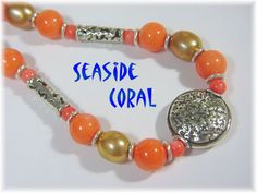 """Seaside Coral - Angel Skin Peach Coral, Copper Pearls Sterling Silver 20"""" Necklace"""