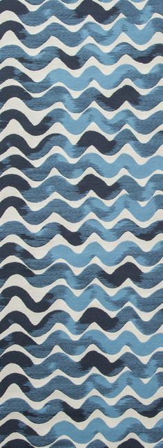 Tidal Wave Fabric in Sea Blues Water Wave, Pattern inspiration. This design began as a simple wavy mark in Rebecca's sketchbook. The subtle shifting tones come to life with the woven texture. Woven in Pennsylvania Cotton, Nylon Fabric Width: Loomstat Wave Pattern, Surface Pattern, Pattern Art, Surface Design, Pattern Fabric, Textile Pattern Design, Textile Patterns, Print Patterns, Blue Patterns