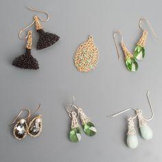 Mint Earrings, Black Earrings, Crystal Earrings, I Love Diy, Jewelry Making Kits, Wire Crochet, Gold Earrings Designs, Gold Filled Jewelry, Jewelry Gifts