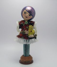 Clothespin Doll - A Girl And Her Cat. $25.00, via Etsy.