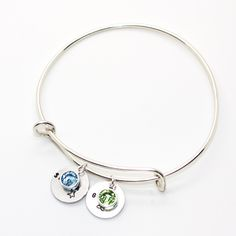 Sterling Silver Expandable Bangle: Triple Coins & single Swarovski Crystal Charm   Sterling Silver Jewellery Online