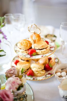 Scrumptious afternoon tea wedding included scones and jam, cakes, macarons, profiteroles and dainty sandwiches.