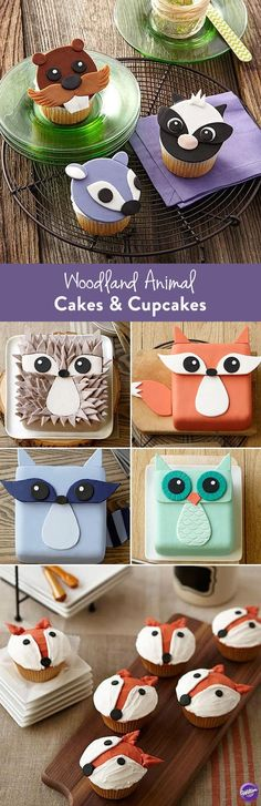 Woodland Animal Cakes and Cupcakes - Cute little woodland critters are great guests for any occasion – birthdays, baby showers or just because. These sweet faces are almost too cute to eat! Check out the ideas below and click through each project to learn how to make woodland animal cakes and cupcakes.