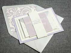 Modern Wedding Invitations, Spring Wedding, Lavender Invitations, Purple, Silver, Grey, Dramatic Script Design, by Julie Hanan Design on #etsy