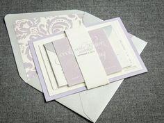 Modern Wedding Invitations, Spring Wedding, Lavender Invitations, Purple, Silver, Grey, Dramatic Script Design, by Julie Hanan Design on #etsy