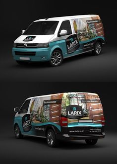 Larix VW - Car Wrap by rados-adv on DeviantArt Vw T5, Cheap Interior Wall Paneling, Wrap Advertising, Vehicle Signage, Vehicle Branding, Van Racking, Van Wrap, Toyota Hiace, Van Design
