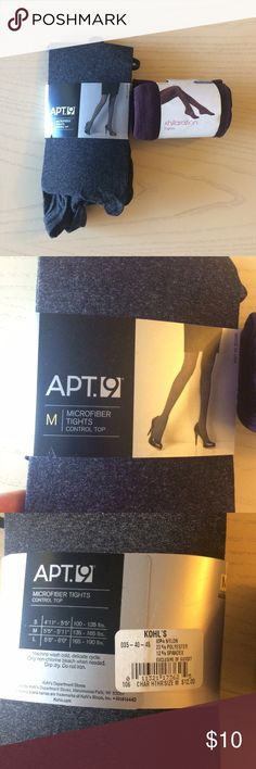 """Bundle of 2 Pairs Opaque Tights Purple and Grey Lot or Set of 2 pairs of opaque tights. Never opened. I received these as a gift and just don't have a need for them right now. They would fit me well if I needed them (I am 5'9"""" and wear a size 6 in pants) Both are great quality, very versatile colors. Grey is charcoal and purple is like a plum or eggplant. Apt 9 and Xhilaration. Apt. 9 Accessories Hosiery & Socks"""