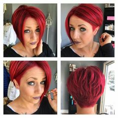 Love this cut. The color is amazing, but would provide a deeper red :) - Wedding Hairstyles Shaved Side Hairstyles, Short Bob Hairstyles, Wedding Hairstyles, Cool Hairstyles, Short Red Hair, Short Hair Cuts For Women, Short Hair Styles, Sassy Hair, Haircut And Color