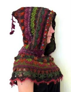 crocheted capelet, with hood. Awesome colors, and love the mixed stitches