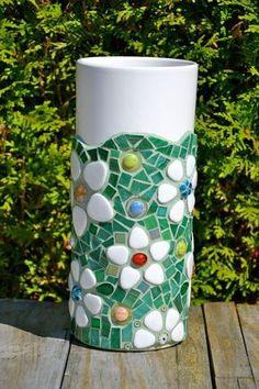 Florero mosaico verde flores alto blanco de cerámica de