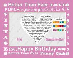 Personalized Grandma Grandmom Grandmother Grandparents Fun Birthday Gift Love Poem Heart Print 8 X 10