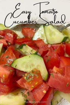 This simple vegetable side dish is full of slightly sweet tomato, crispy cucumbers, and tangy dressing flavor. Ready and on the table in just about 30 minutes. fitasafiddlelife.com Healthy Foods, Healthy Eating, Healthy Recipes, Cucumber Onion Salad, English Cucumber, Side Salad, Vegetable Side Dishes, Dressings, Salads
