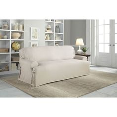 Leather Sleeper Sofa Tailor Fit Relaxed Fit Cotton Duck T cushion Sofa Slipcover