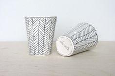 Porcelain Herringbone Juice Cup in Black and White door ebenotti, $42.00