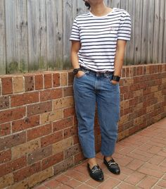 Zoe Karssen striped shirt, Levis 550s, Topshop loafers