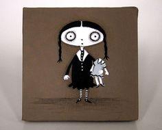 Young Thursday Addams  original acrylic painting by yoborobo