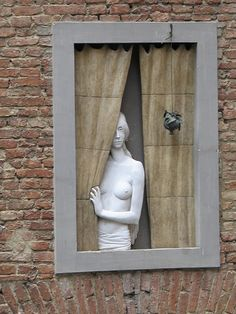 Sculpture In Window. Tuscany Italy. Scott Bergey