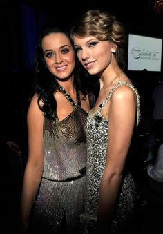 Katy Perry and Taylor Swift at The Grammy Awards together in 2010.