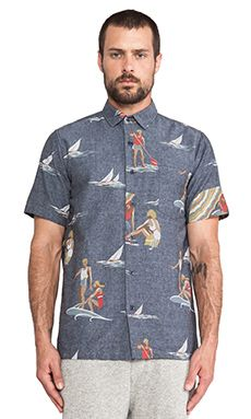 Shades of Grey by Micah Cohen Vacation Shirt in Sea Sports   REVOLVE