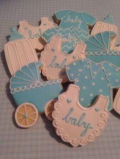Baby Boy Shower Decorated Sugar Cookies - Onesie, Bib, Feeding Bottle & Stroller - 12 Pieces by KJ Cookies on Gourmly