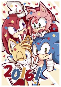 Happy New Year 2016 I want to wish all of you my wonderful family of artists and the world a wonderful A year filled with dreams, happiness and lo. Happy New Year 2016 Sonic The Hedgehog, Hedgehog Art, Shadow The Hedgehog, Happy New Year 2016, New Years 2016, Sonic Underground, Sonic And Amy, V Games, Sonic Fan Art