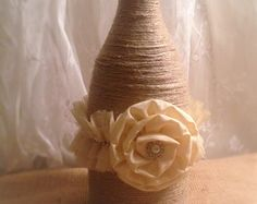 Twine Wrapped Wine Bottle Vase