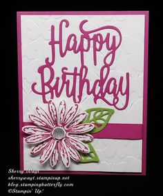 Best Birthday Quotes : Stampin up happy birthday thinlit wi Scrapbooking Dies, Scrapbook Cards, Handmade Birthday Cards, Greeting Cards Handmade, Stampin Up Karten, Happy Birthday Gorgeous, Embossed Cards, Stamping Up Cards, Cards For Friends