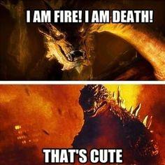 #CelebrityDeathmatch   Smaug vs Godzilla
