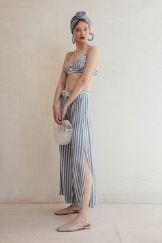 This Mara gaucho pant features a wide leg silhouette with an ankle length hem. The slit detail is designed for maximum ease and movement. Made in Los Angeles. Look Fashion, Fashion Outfits, Womens Fashion, Fashion Design, Summer Wear, Summer Outfits, Designer, Beachwear, Skirt Set