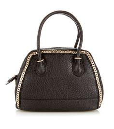 Black Textured Chain Trim Bowler Bag