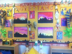 A Year 3 Egyptians display. Ancient Egypt Activities, Ancient Egypt For Kids, Ancient Egyptian Art, Class Displays, School Displays, Classroom Displays, Egyptian Crafts, Egyptian Party, Art Lessons For Kids