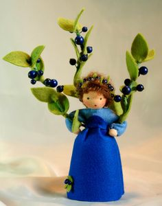 Wool-felted, Waldorf-Inspired Little Girl 'BLUEBERRY' Flower Fairy Child ................................................................................................ by KatjasFlowerFairys | Etsy