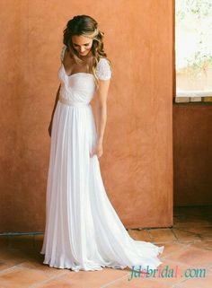 Fairy light ethereal flowy chiffon cap sleeved wedding dress