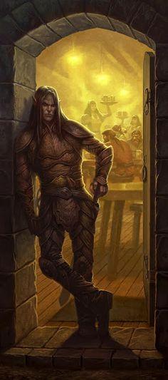 m Elf Fighter plate armor tavern urban THE ART OF JIM NELSON. Elf in Doorway (Dragon #426)