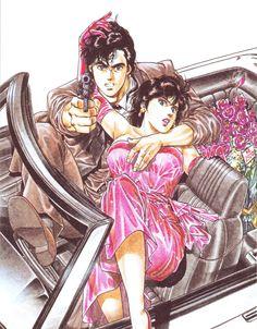City Hunter - Ryo Saeba e Kaori Makimura, em arte de capa de Tsukasa Hojo.