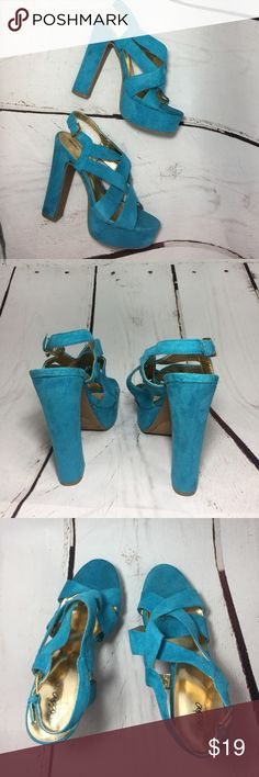 "Turquoise Blue Faux Suede platform heels 7 Gorgeous Turquoise Blue Faux Suede platform heels 7. Barely worn great condition. 5.5"" Heels. 1.5"" front platform Mossimo Supply Co Shoes Platforms"