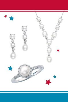 With these beautiful cultured pearl pieces, you'll be the best dressed at the 4th of July bash.