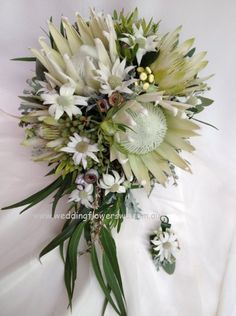 Love the trailing eucalyptus leaves and flannel flowers // Tesselaars Wedding Flowers Entrant Christine Blackshaw, Willetton Wedding Flowers, Willetton W.A.