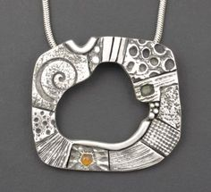 "Hadar Jacobson, ""Collage"". Fine silver (PMC), Mexican fire opal, sterling chain, 18"" long. Size: 1½"" x 1¼"", 140.00$"