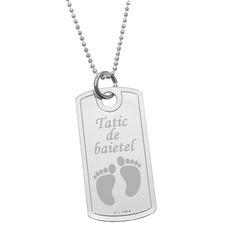 Placuta Military din argint gravata cu mesaj si simbol picioruse bebe Paste, Dog Tags, Dog Tag Necklace, Jewelry, Teal Tie, Jewlery, Bijoux, Schmuck, Jewerly