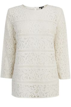 Clothing | Cream Lace Panel Top | Warehouse