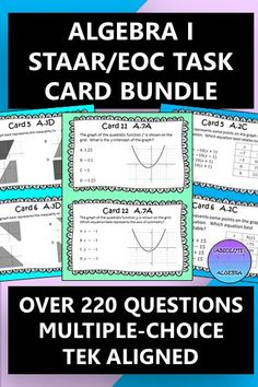 TEK aligned task cards are the perfect resource to help engage your high school students and pass the Algebra I STAAR/EOC. No more searching for extra practice problems. These multiple-choice task cards look similar to the test problems and use much of the same wording and vocabulary. Spiral these cards throughout the year. This bundle has over 220 questions. Answers and recording sheet are included. #TEK #task cards #STAAR #EOC  #multiple choice #bundle #test prep #Algebra I #assessment High School Algebra, Algebra 1, High School Students, Science Resources, Math Activities, Teaching Resources, Teaching Math, Math Task Cards, Secondary Math