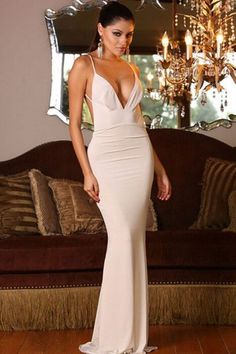 White Sleeveless Evening Gown, Open Back Prom Dresses,